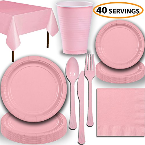 Disposable Party Supplies, Serves 40 - Light Pink - Large and Small Paper Plates, 12 oz Plastic Cups, Heavyweight Cutlery, Napkins, and Tablecloths. Full Tableware Set]()