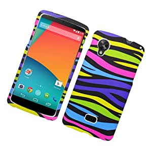 LG Google Nexus 5 Rubberized Colorful Zebra Case Solid TPU/PC Protector Cover+ FREE PRIMO DESIGN CARTOON FOLDABLE TOTE BAG