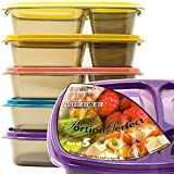 Bento Lunch Box Portion Control Food Storage Containers for Meal Prep - 21 Day Fix Plan - Ideal for Adults - Kids - 40% Thicker Heavy Duty Durable Plastic - With Tight Fit Lids by Portion Perfect