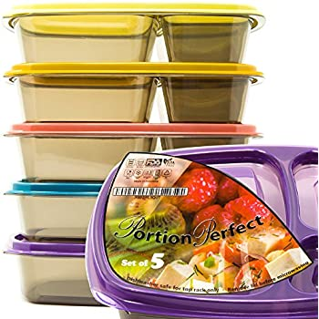 Meal Prep Containers 3 Compartment Food Storage Bento Boxes - 50% Thicker Plastic with Tight Fit Lids – Pack Lunch for Adults, Kids, Work, School, Camping, 21 Day Fix & Portion Control – 36OZ Capacity