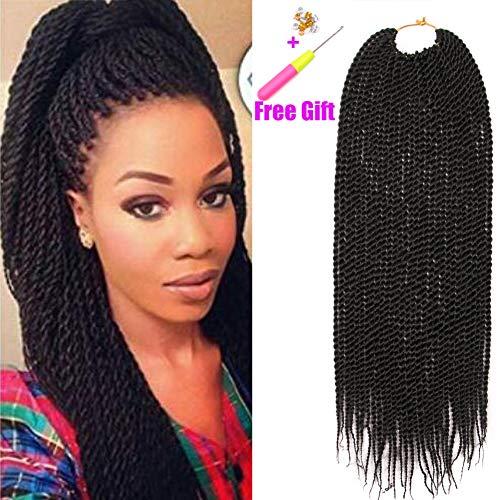 Geyashi Hair 18 Inch 1 Pack/Lot 1B Black Color Senegalese Twist Box Braids Crochet Hair Extensions Pre Looped 30 Strands/Pack Kanekalon (1 Pack 18 inch, 1B(Natural Black))