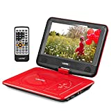 UEME 9' Portable DVD Player CD Player with Car Headrest Mount Holder, Swivel Screen Remote Control Rechargeable Battery AC Adapter Car Charger, Personal DVD Player PD-0091 (Red)