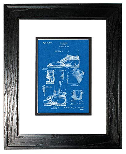 Footwear Patent Art Blueprint Print in a Black Pine Wood Frame with a Double Mat (11