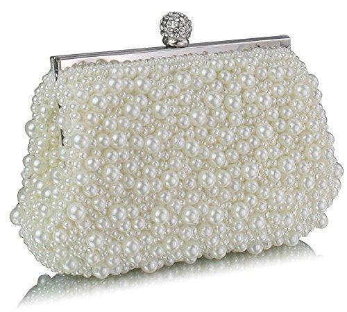 TrendStar Bolso de mano para mujeres: de boda, cristal, perlado, para fiesta - Ivoire 5