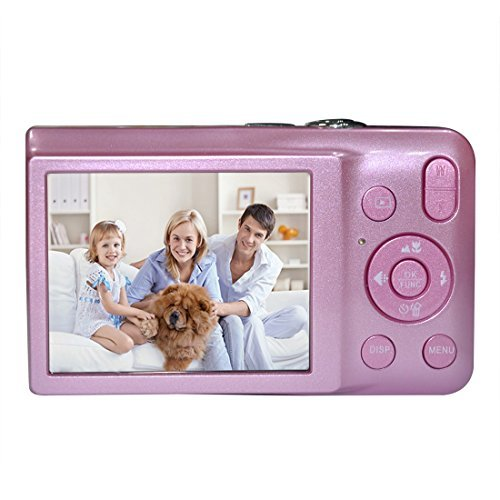 KINGEAR V100 2.7 Inch TFT Color LCD Screen 16MP 720P HD Anti-shake Smile Capture Digital Video Camera with 8X Optical Zoom 4X Digital Zoom-Pink