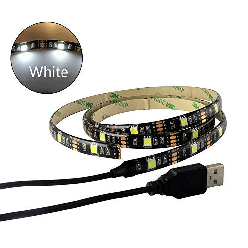 Black PCB TV BackLight Kit,Computer Case 5V USB LED Light,MJJC 1m/3.28Ft Flexible 5050 30 LED Strip Light White 6000-6500K 5 Led Lights Computer Case