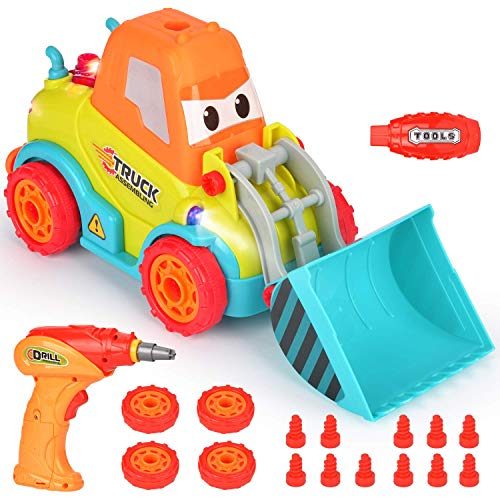 BATTOP Take Apart Toys Car Truck for 3 4 5 Year Old Boys Girls, DIY Toys with Sounds & Lights, Gift for 3-4-5 Year Old Kids -