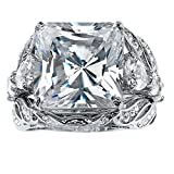 Princess-Cut White Cubic Zirconia Platinum-Plated 3-Piece Bridal Ring Set Size 10