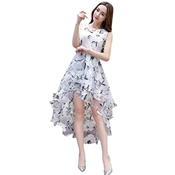 11b57a24cd Weant Womens Dress Plus Size Sale Summer Organza Floral Print Wedding Party  Ball Prom Gown Cocktail