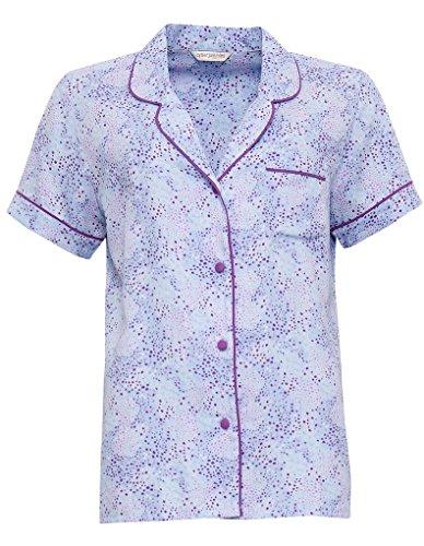 Cyberjammies 3296 Elsie Blue Spot Print Cotton and Modal Pyjama Top 16