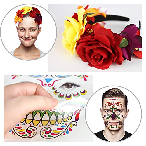 Halloween Headband, 4PCS Day of The Dead Headband Costume Mexican Headpiece with Halloween Temporary Tattoo Stickers for Halloween Masquerade Party Dress up Favor