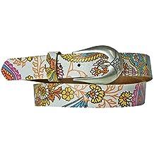 FRONHOFER Floral women's belt, bright floral belt, real leather, 1.2'/3cm, Color:Multicoloured, Size:waist size 29.5 IN S EU 75 cm