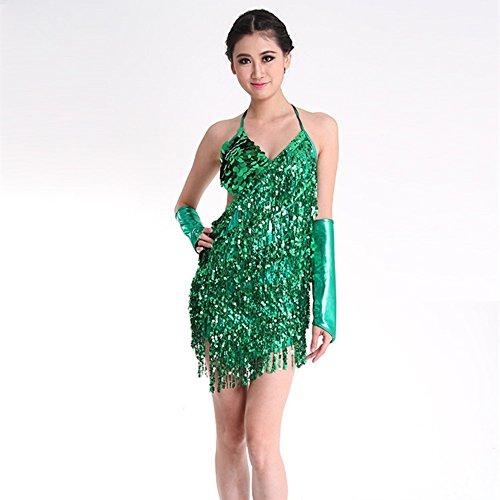 WILLLIN Sexy Latin Dance Dress Sparkling Sequins Tassels Ballroom Halloween Costumes ()