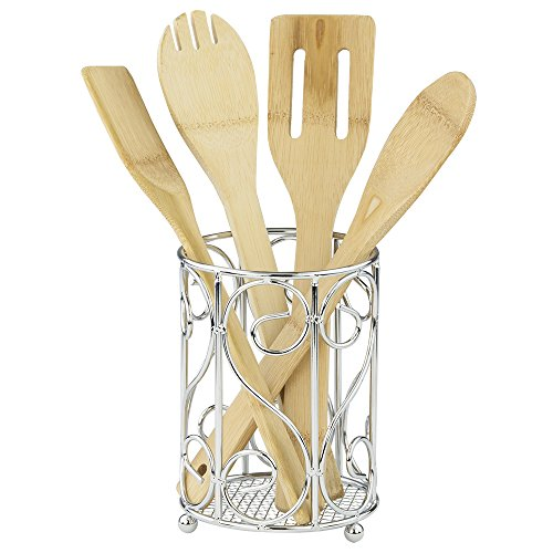 Home Basics CH40905 Scroll Collection, Chrome Cutlery Holder, 4.62