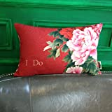 MAYUAN520 Cushion Simple Style Wedding Cushion Cotton Red Cushions With Core Of New Chinese Style Sofa Waist Cushion For Home Furnishing Hotel Room;,I Do Big Flower Waist Cushion