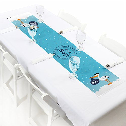 (Big Dot of Happiness Boy Special Delivery - Petite Blue It's A Boy Stork Baby Shower Paper Table Runner - 12 x 60 inches)