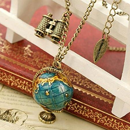 Pinzhi1 Retro Miniatur-Teleskop Globale Reise Globus Halskette Pullover Kette