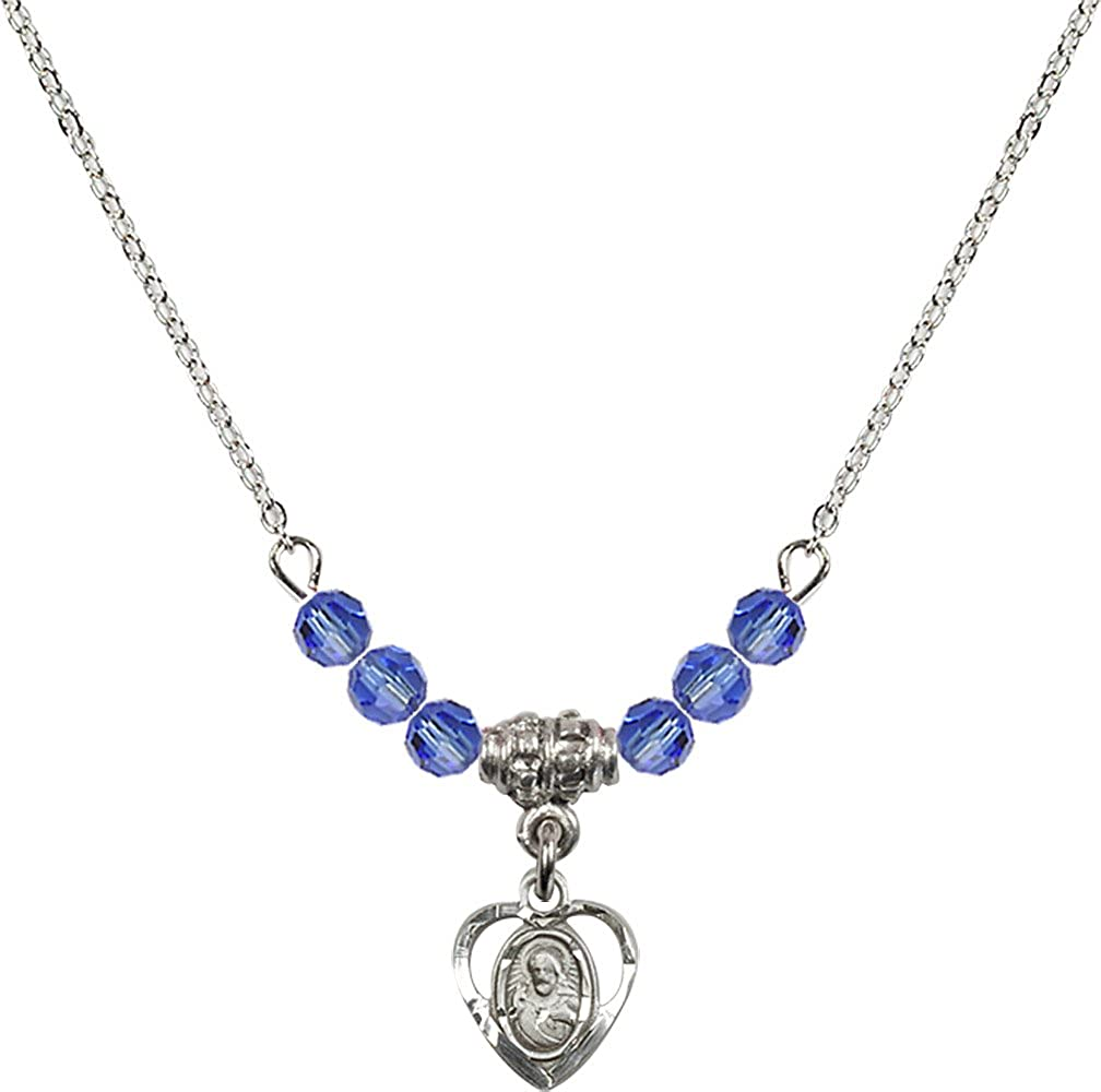 18-Inch Rhodium Plated Necklace with 4mm Sapphire Birthstone Beads and Sterling Silver Scapular Charm.