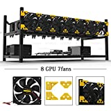 8 GPU Mining Rig Case With 7 PCS Extreme Airflow 120mm Case Fan, Aluminum Stackable Miner Case Open Air Frame Unassembled Kit For ETH/ETC/ZCash Ethereum,Bitcoin,and Altcoins(Classic)