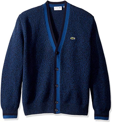 Lacoste Men's Long Sleeve Made in France Wool Cardigan, ENCRIER Mouline/Navy Blue, X-Large (Mens Cardigan Lacoste Sweater)