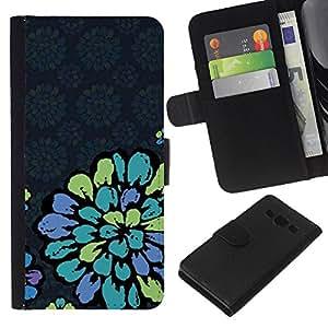 Pétalo de la vendimia Papel pintado retro azul- la tarjeta de Crédito Slots PU Funda de cuero Monedero caso cubierta de piel Para Samsung Galaxy A3