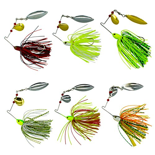 Shaddock Fishing Fishing Spinner Baits Kit - Hard Spinner Lures Multicolor Buzzbait Swimbaits Pike Bass 0.64oz (6pcs Spinner Baits)