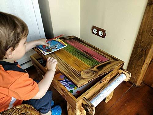 Mesa pupitre infantil original con cajonera, de madera reciclada ...