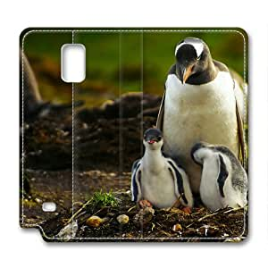 Armener Leather Protective Skin Case Cover for Samsung Galaxy Note 4 With Penguins