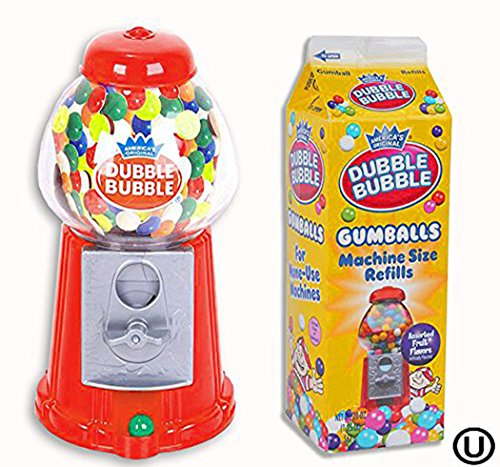 4E's Novelty Classic Dubble Bubble Gumball Coin Bank Machine, with a Pack of Dubble Bubble Gumballs, Great Party Favor