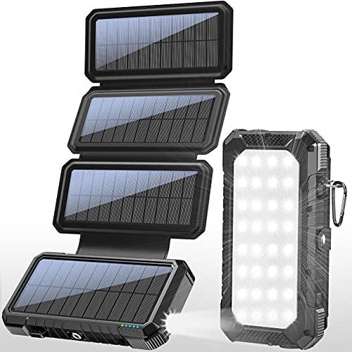 BLAVOR 18W Solar Panel Charger QC 3.0 Fast Charging Power Bank,Solar Phone Black