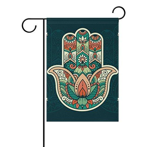 "LEISISI Hamsa Pattern Garden flag 12""X18"" Two Sided Yard Dec"