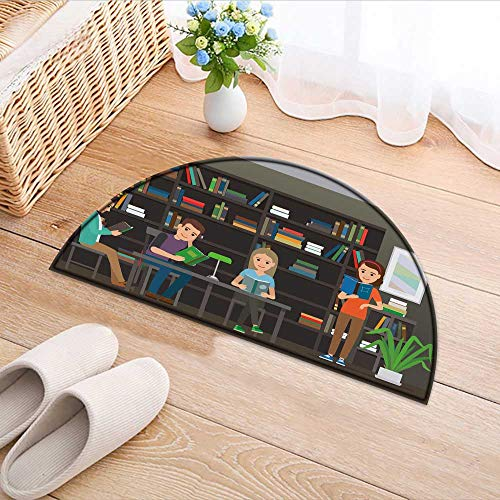 (Semicircle Area Rug Carpet Four Characters Men and Women sit at Table with lamp Door mat Indoors Bathroom Mats Non Slip W31 x H20 INCH)