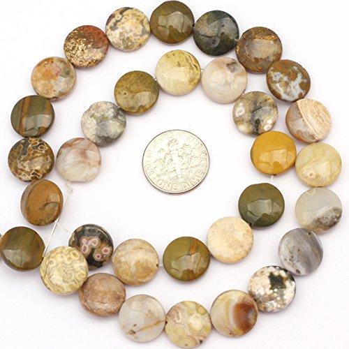 Natural Coin Ocean Jasper Gemstone Jewelry Making Loose Beads Strand