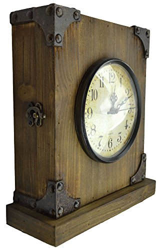 Lulu Decor, Reclaimed Wood, Shabby Chic Rustic Wood Tabletop Clock with Antique Look. Key Holder in Hidden Area (Desk Clock) - Reclaimed wood, Shabby Chic Rustic Desk clock with antique look. It opens from middle & it comes with 3 key hooks. The bottom part has velvet material to avoid scratches on your wooden furniture. Wooden Clock with Iron corners for antique & Rustic look. Approx size 9 inches width, 10 inches height with 3 inches thick. It matches with most of the wooden furniture, can be kept near fireplaces, study room, on top of bedroom drawers, office table etc. Little hiding place at the back of the clock. A good place to hide valuables like rings, bracelet or safe keys etc. - clocks, bedroom-decor, bedroom - 51G jjIKrwL -
