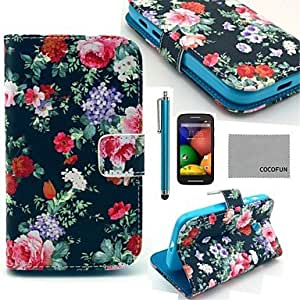 COCO FUN? Novelty Owl Pattern PU Leather Full Body Case with Screen Protector, Stylus and Stand for Motorala Moto E