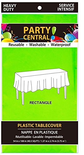 Party Central Reusable Waterproof Plastic Rectangular Tablecover (54