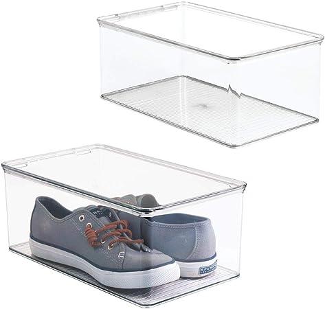 mDesign Juego de 2 cajas para zapatos apilables con tapadera ...