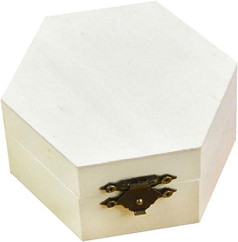 Demarkt Caja de Regalo de Almacenamiento Hexagonal de Madera Navidad Regalos de Cumpleaños y Fiesta Cajas de Regalo Conjunto de Convites para Decorativos 9.2 * 8 * 4.3CM 1PCS: Amazon.es: Hogar