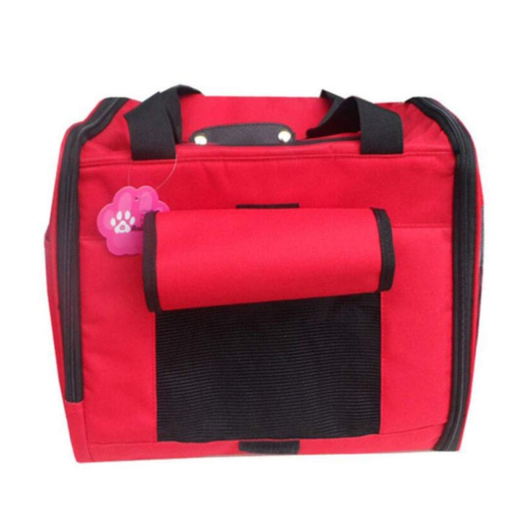 FJH Red Pet Box Ventilation Cage Cat Dog Shoulder Portable Travel Transport Car Out Shipping 36  21.5  28cm