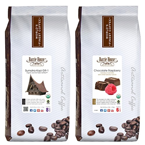 Barrie House Whole Bean Coffee, Fair Trade, USDA Certified Organic Bundled 5 lbs. Variety Pack: Chocolate Rasberry / Sumatra Kopi GR-1 - 2 Packs of 2.5 lbs