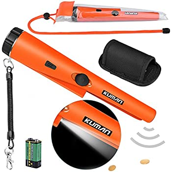 kuman Pin Pointer Metal Detector Kit with Multifunctional PVC Waterproof Case and Holster 360° Scanning Treasure Hunting Unearthing Tool (pinpointer Metal ...