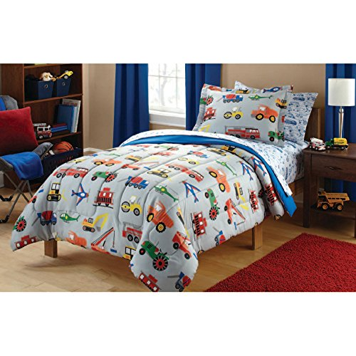 2 Piece Multi Color Transportation Themed Duvet Cover Set Twin, Work Trucks Fire Trucks Tractors plains Trains Vehicles Printed, Vibrant Red Yellow Green Blue Kids Bedding For Bedroom, Polyester Transportation Multi Duvet Set