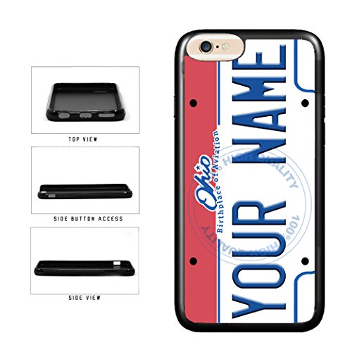 BleuReign(TM) Personalized Custom Name Ohio State License Plate TPU Rubber Silicone Phone Case Back Cover for Apple iPhone 8 Plus and iPhone 7 Plus (Cleveland Indians Iphone 4s Case)