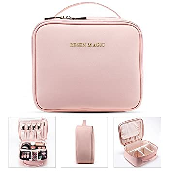 aa5aef7f88a7 Amazon.com   BEGIN MAGIC Travel Makeup Train Case Professional Makeup Bag  Small Portable Cosmetic Organizer Case with Dividers Brush Holder- PINK    Beauty
