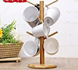 Bamboo Mug Rack Tree Coffee Tea Cup Organizer Hanger Holder with 6 Hooks Removable Bamboo Mug Stand by AHYUAN