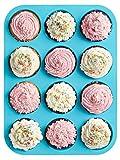 12 Cup, Non Stick, Premium Silicone Muffin Mold & Cupcake Pan/Silicone ...