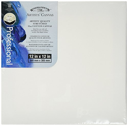 Winsor Newton 12-Inch by 12-Inch Artists Quality Stretched Canvas, White, 1 Per Package