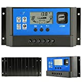 PowMr 40A Charge Controller - Solar Panel Charge Controller 12V 24V,Adjustable Parameter LCD Display Current/Capacity and Timer Setting ON/Off Solar Regulator with 5V Dual USB(CM-40A)