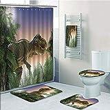 iPrint Bathroom 5 Piece Set Shower Curtain 3D Print,Jurassic Decor,Dinosaur in The Jungle Trees Forest Nature Woods Scary Predator Violence,Bath Mat,Bathroom Carpet Rug,Non-Slip,Bath Towls