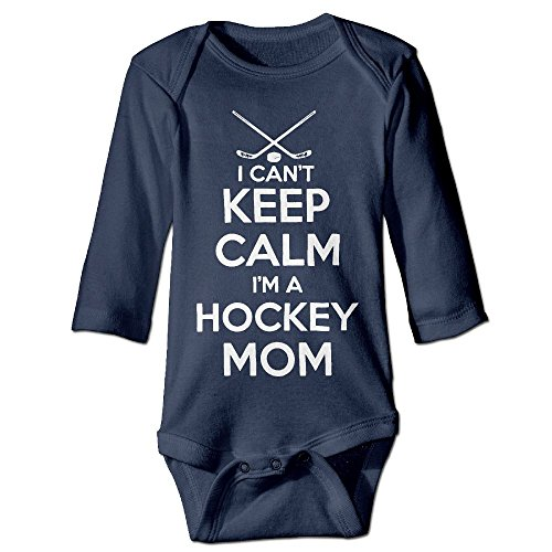 Newborn Infant Baby Boys Girls Outfits Keep Calm Im A Hockey Mom Long Sleeve Romper Jumpsuit Playsuit Clothes T-shirt 24 (Hockey Halloween Blue Jackets)